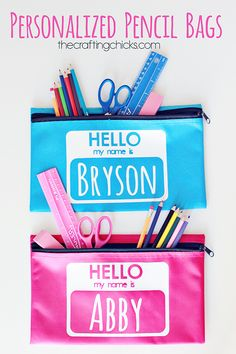 Personalized Pencil Bags - DIY Back-To-School Supplies - Photos Personalized School Supplies, Personalized Pencils, Personalised Gifts, Back To School Crafts, Back To School Supplies, Cricut Explore Projects, Vinyl Projects, Vinyl Crafts, Pencil Bags
