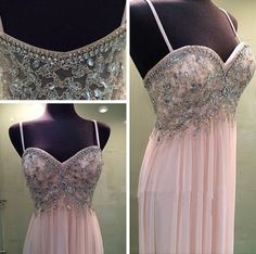 Pearl Pink Prom Dresses,Chiffon Prom Dress,A Line Prom Dress,Long Prom Gown,Elegant Prom Dresses,Spaghetti Straps Party Dress