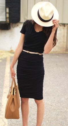 Work appropriate dress for women. Notice how the length of the dress hits right at the knee