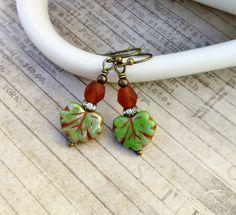 Green Earrings, Topaz Earrings, Orange Earrings, Maple Leaf Earrings, Rustic Earrings, Czech Glass Beads, Brown Earrings, Womens Earrings by SmockandStone on Etsy