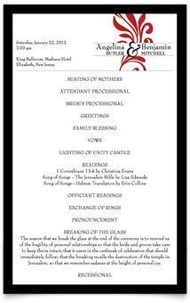 Rectangle Wedding Programs - Signature of Love