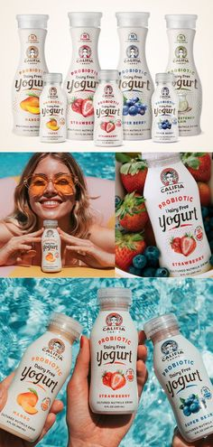 Awesome branding work for Califia Probiotic Yogurts by farm design. Farm Design to create a packaging system that clearly communicates the unique bran. Yogurt Packaging, Beverage Packaging, Healthy Eating Tips, Healthy Nutrition, Dairy Free Probiotics, Dairy Free Pumpkin Pie, Yogurt Brands, Probiotic Yogurt, Food Packaging Design