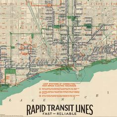 #Map of #Chicago rapid #transit lines (1926)