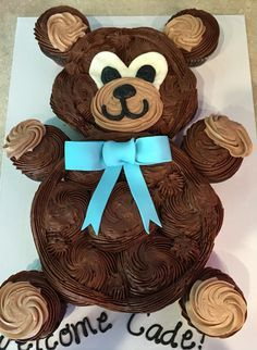 Teddy Bear Cupcake Cake Baby Shower