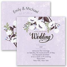Poppies ala Pastel Wedding Invitation by David's Bridal #purpleweddings #weddinginvitation