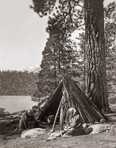 """Washoe Indian Camp at Emerald Bay, Lake Tahoe, California. Circa 1910 ~ Photo from the archives of Jim Bell©"