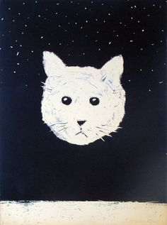Selling Fritz Scholder Cyanotype Cliche-Verre Floating Cat Head with the Stars at Art Agents International