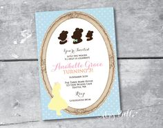 Goldilocks and the Three Bears Party PRINTABLE INVITATION DESIGN by Itsy Belle on Etsy, $16.00