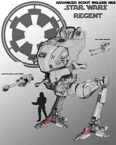 """Finished version of the advanced scout walker. Armed with a single medium laser cannon and blaster cannons it also comes with an anti """"Ewok"""" grenade. AT ST mkII Rpg Star Wars, Nave Star Wars, Star Wars Ships, Star Trek, Images Star Wars, Star Wars Pictures, Star Wars Concept Art, Star Wars Fan Art, V Wings"""