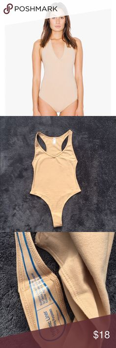 American Apparel ~ Nude Halter Bodysuit Condition :: New with tags 🏷  Brand 🛍 :: American Apparel   Size :: Small  Description :: Never Worn Before. Model wearing a small. Cotton Spandex American Apparel Tops