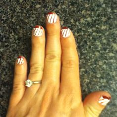 Candy cane nails! Sparkle red tips with bright red lines