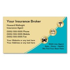 224 best auto agent business cards images on pinterest in 2018 insurance broker business cards reheart Images