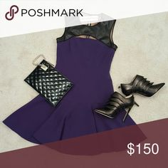 NWT Jay Godfrey bishop flounce dress faux leather New with tags. BISHOP FLOUNCE DRESS. Royal purple with black perforated faux leather neckline. Cut-out chest and a keyhole back. Jay Godfrey Dresses Mini