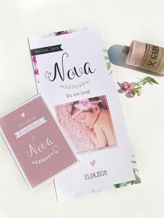 Floral geboortekaartje voor meisje met bijpassend kraamkaartje | boho | Flowers | bloemen | pink | babyannouncment
