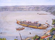 Pleasure barges of Caligula, moored on Lake Nemi, c.40 AD.  Remains of Caligula's enormous barge was discovered and housed before being burned by retreating Nazis during WWII.