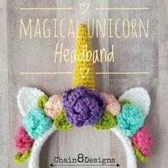 Magical Unicorn Headband - free crochet pattern from Chain8Designs