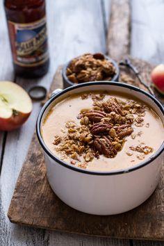 Brie + Cheddar Apple Beer Soup with Cinnamon Pecan Oat Crumble | halfbakedharvest.com @hbharvest