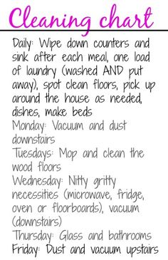 My cleaning chart + around the house tips - The Fitnessista