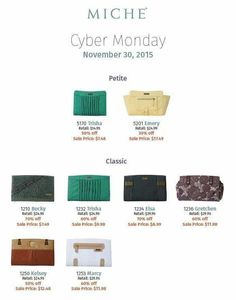 Great Cyber Monday deals visit my site: http://sandrasgotmy.miche.com  Every order placed over 50.00 will get a free gift.