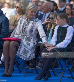 Crown Princess Mette Marit of Norway, Princess Ingrid Alexandra of Norway attend the unveiling of a statue of King Olav V at the City Hall Square on June 7, 2015 in Oslo, Norway.