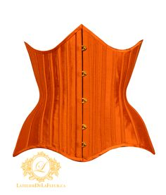Pointed longline underbust corset of irridescent orange dupioni with matching single casings and binding. The gold busk and grommets are a nice compliment to the warm colour of the silk. Toronto, Custom Corsets, Burlesque Costumes, Canada, Offbeat Bride, Underbust Corset, Couture, Warm Colors, Long A Line