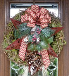 Grapevine Wreath with Red STAR, Christmas GREENERY and Burlap CHEVRON Bow