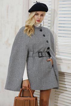 f8510a2683b 8DESS Long Sleeve Winter Cape Coat Women Belt Outerwear Coats Casual Split  Cloak Overcoat Cape Jacket