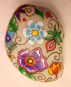 Painted Flowers on Rock Acrylic on Stone hand-painted on Rock