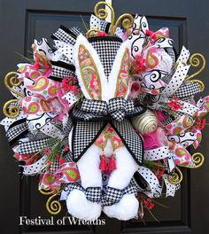 Spring Easter Wreath  Easter Deco Mesh Wreath by FestivalofWreaths