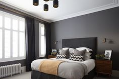 The master bedroom has a super luxe feeling with dark moody grey walls and furnishings softened with walnut furniture. Gray Bedroom Walls, Master Bedroom Design, Bedroom Colors, Grey Walls, Bedroom Decor, Master Suite, Bedroom Ideas, Dark Living Rooms, Cottage Living Rooms