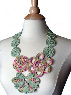 Crochet Necklace Crochet Bib Statement by Nothingbutstring on Etsy