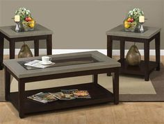 Merlot Wood Glass Coffee Table Set
