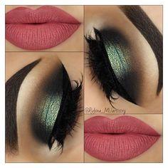 Halo smokey eye - Make Up Smoky Eyeshadow, Smokey Eye Makeup, Eyebrow Makeup, Skin Makeup, Eyeshadow Makeup, Makeup Brush, Eyeshadows, Green Smokey Eye, Lipsticks