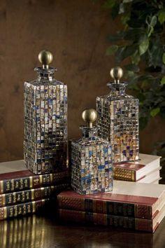 IMAX Moulin Mosaic Bottles - Set of 3