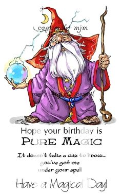 Wiz - Mo's Digital Pencil. Stamp Description Gnomish Wizard with globe and staff.  Also includes three separate sentiments for Birthday, love and general occasions.  You will receive black and white images.  Colored image is for watermark purposes. $5.00