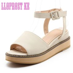 LLOPROST KE Gladiator Women Spring Summer Ankle Sandals Open Toe Size 32-46 Lady Roman Platform Shoes Buckle Roman Shoes dxj2176