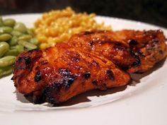 Grilled Buffalo Chicken -- This is SO good! Easy, quick marinade then throw it on the grill.