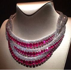 "Ruby and Diamonds Van Cleef & Arpels Necklace from the new high jewellery collection ""Peau d'Âne ""via@watch_jewel"