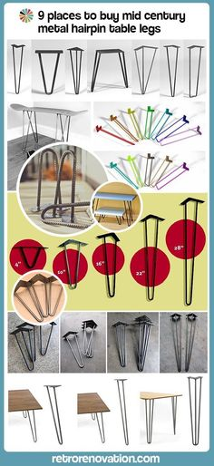 Read more: 9 places to buy metal hairpin table legs -- raw steel, stainless steel, rebar, powder coated & more - Retro Renovation Furniture Projects, Furniture Makeover, Wood Furniture, Home Projects, Furniture Cleaning, Furniture Removal, Retro Renovation, Hair Pins, Mid-century Modern