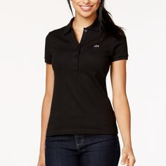 100% Authentic Lacoste Polo Great condition black polo. Size 38. From shoulder to bottom is 20 inches. Bust is 15 1/2 inches. Same day or next day shipping. No trades and no holds. Lacoste Tops