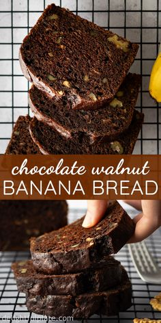 This Chocolate Walnut Banana Bread is so delicious, moist and tender with a chocolatey, nutty flavor and wonderful aroma. Great as breakfast, dessert or mid-day snack. It's super easy to bake this banana bread, no fancy tools are needed. Dairy-free option is available. #bananabread #chocolaterecipes