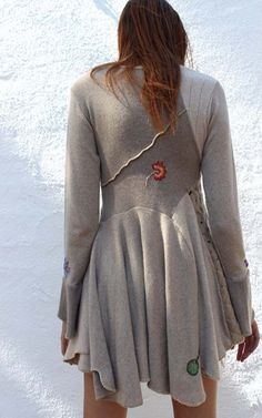 asymmetrical recycled cashmere handmade embroidered tunic sweater. $575.00, via Etsy.