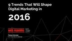 In a fast changing industry, it's key to understand which trends drive future growth. In this presentation, we take a look at the forces that will shape digita… Digital Marketing Trends, Direct Marketing, Digital Marketing Strategy, Content Marketing, Social Media Marketing, Marketing Strategies, Display Advertising, Search Engine Marketing