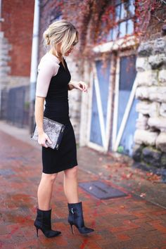 Don't be afraid to pair boots with dresses. Use accessories push it one way or the other.