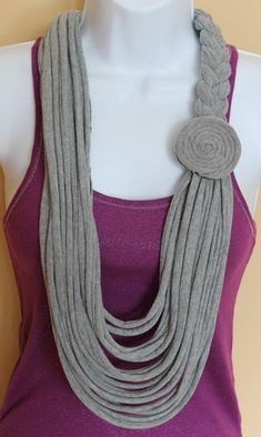 Gray Braided Floral Necklace Scarf Tshirt by Handmadebyjojaecks, upcycle jersey fabric Yarn Necklace, Fabric Necklace, Scarf Jewelry, Floral Necklace, Textile Jewelry, Fabric Jewelry, Jewellery, Necklaces, Recycled T Shirts