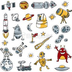 Set of Different Space Images with Aliens, Robots, and Astronauts Royalty Free Stock Vector Art Illustration
