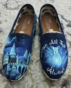 """Hand painted Harry Potter themed shoes, featuring Hogwarts castle on one shoe and a doe patronus on the other. Small Hedwig the owl on one heel, Deathly Hallows symbol on the other. """"After all this time? Always"""" written around the doe."""