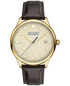 Movado Men's Swiss Heritage Series Calendoplan Chocolate Brown Leather Strap Watch 40mm 3650003 $650.00 Richly designed gold-tones contrast in matte and polished shades on this high-caliber timepiece from Movado's Heritage Series Calendoplan collection. A modern interpretation of Movado's classic mid-century design.