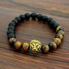 Hot Tiger Eye Brand Lion Head Bracelets Bangles Elastic Rope Chain & Link Natural Stone Friendship Men Bracelets Jewelry