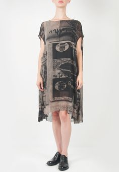 Rundholz Oversize Sheer Pattern Silk Short Sleeve Dress. A-Line hem » Santa Fe Dry Goods | Clothing and accessories from designers including Issey Miyake, Rundholz, Yoshi Yoshi, Annette Görtz and Dries Van Noten